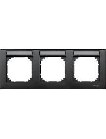 MTN472314 - Plaque finition triple M-Plan, à porte-étiquette, montage horizontal, anthracite , Schneider Electric