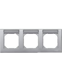 MTN472360 - Plaque finition triple M-Plan, à porte-étiquette, montage horizontal, aluminium , Schneider Electric