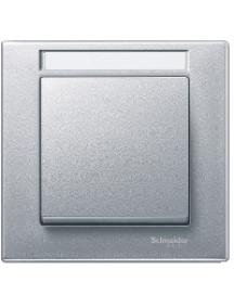 MTN476160 - Plaque finition simple M-Plan, avec porte-étiquette, aluminium , Schneider Electric
