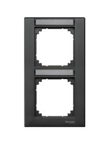MTN476214 - Plaque finition double M-Plan, avec porte-étiquette montage vertical, anthracite , Schneider Electric