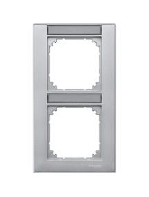 MTN476260 - Plaque finition double M-Plan, avec porte-étiquette montage vertical, aluminium , Schneider Electric