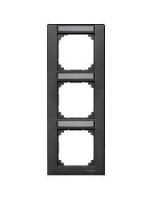 MTN476314 - Plaque finition triple M-Plan, avec porte-étiquette montage vertical, anthracite , Schneider Electric