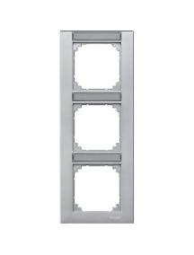 MTN476360 - Plaque finition triple M-Plan, avec porte-étiquette montage vertical, aluminium , Schneider Electric