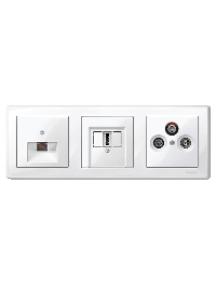 MTN478319 - M-Smart frame, 3-gang, polar white, glossy , Schneider Electric
