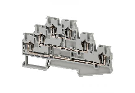 Linergy NSYTRR26T - Borne à ressort - 3 niveaux - passant - 6 points - 2,5mm² - gris , Schneider Electric