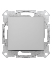 Sedna SDN0100160 - Sedna - 1pole switch - 10AX without frame aluminium , Schneider Electric
