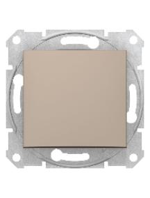 Interrupteur simple bipolaire 20 AX GU2410BPB Laiton poli avec insert noir Schneider Electric Ultimate Plaque plate sans vis