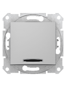 Sedna SDN0201160 - Sedna - 2pole switch - 10AX indicator light, without frame aluminium , Schneider Electric