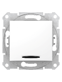 Sedna SDN0201221 - Sedna - 2pole switch - 16AX indicator light, without frame white , Schneider Electric