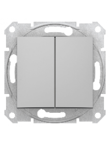 Sedna SDN0300160 - Sedna - 1pole 2-circuits switch - 10AX without frame aluminium , Schneider Electric