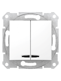 Sedna SDN0300321 - Sedna - 1pole 2-circuits switch - 10AX locator light, without frame white , Schneider Electric