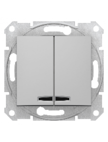 Sedna SDN0300360 - Sedna - 1pole 2-circuits switch - 10AX locator light, without frame aluminium , Schneider Electric