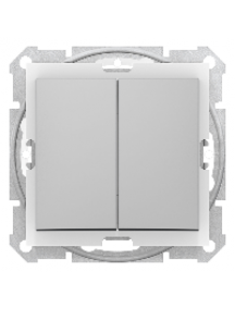 Sedna SDN0300460 - Sedna - 1pole 2-circuits switch - 10AX IP44 without frame aluminium , Schneider Electric