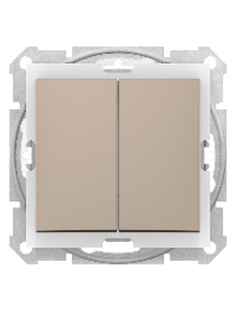 Sedna SDN0300468 - Sedna - 1pole 2-circuits switch - 10AX IP44 without frame titanium , Schneider Electric