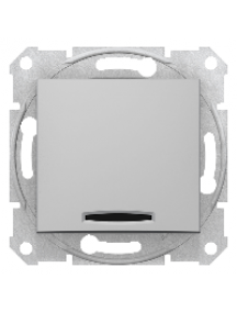 Sedna SDN0400360 - Sedna - 1pole switch - 10AX indicator light, without frame aluminium , Schneider Electric
