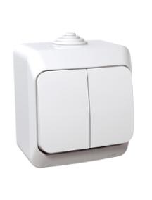 Cedar Plus WDE000550 - Cedar Plus - 1pole 2-circuits switch - 16AX, white , Schneider Electric